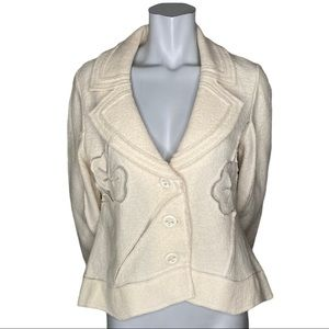 Tribal Cream Wool Jacket with Mesh Accents  12